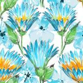Blauwe bloemen naadloze patroon — Stockvector