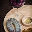Meat fillet sausage and red wine — Stock Photo #59893157
