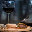 Meat fillet sausage and red wine — Stock Photo #59893177