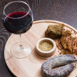 Meat fillet sausage and red wine — Stock Photo #59893197