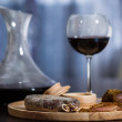 Meat fillet sausage and red wine — Stock Photo #59894349