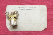 Toy angel on card — Stock Photo