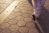 Barcelona wyłożone kafelkami bruk — Zdjęcie stockowe