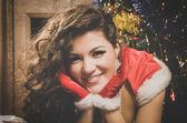 Beautiful xmass brunette — Stock Photo