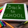 Back to school background with tablet pc — Stock Photo #52133875
