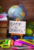 Ahşap zemin üzerinde okul kavramı geri — Stok fotoğraf