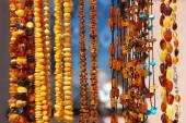Beautiful amber necklaces — Stock Photo