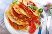 Pancakes filled with minced meat and vegetables — Stock Photo
