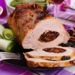 Roasted pork loin stuffed with prune — Stock Photo #52923205