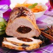 Roasted pork loin stuffed with prune — Stock Photo #52923223