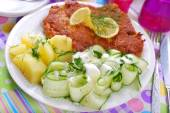 Delicious dinner with pork chop and cucumber salad  — Stock Photo