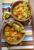 Zucchini soup with croutons — Stock Photo