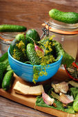 Fresh cucumbers and ingedients for homemade gherkin — Stock Photo