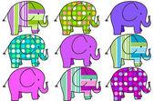 Nine colorful elephants background — Stock Photo