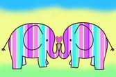 Pastel colors stripes elephant — Stock Photo