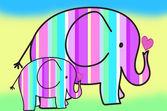 Pastel colors stripes elephants — Stock Photo
