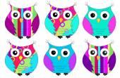 Six colorful owls pattern — Stock Photo