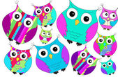 Funny colorful owls pattern — Stock Photo