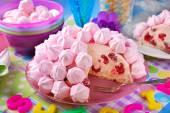 Birthday cake with pink meringues and raspberries — Stock Photo