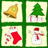 Christmas card set with four pictures — Stock Photo