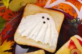 Funny sandwich with ghost for halloween — Stock Photo