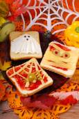 Funny sandwiches for halloween — Stock Photo