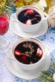 Red borscht and dumplings for christmas eve — Stock Photo