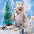 Owl on sledge with gifts for christmas — Stock Photo #56271355