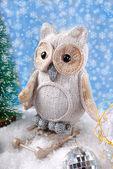 Owl on sledge  for christmas — Stock Photo