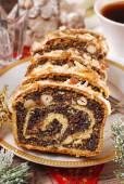 Poppy seed cake for christmas — Stock Photo