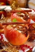 Baked apples with cheese and raisins for christmas — Stock Photo