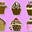 Six cupcakes stickers collection  — Stock Photo #57639057