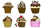 Six cupcakes collection isolated on white — Stock Photo