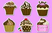 Six cupcakes stickers collection  — Stock Photo