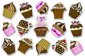 Cupcakes stickers collection background on white — Stock Photo