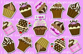 Cupcakes stickers collection background  — Stock Photo