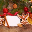 Christmas  background with gingerbread cookies and decoration — Stock Photo #58293603