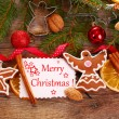 Christmas  background with gingerbread cookies and decoration — Stock Photo #58293643