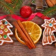 Christmas  background with gingerbread cookies and decoration — Stock Photo #58293753