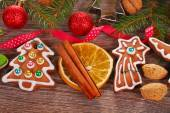 Christmas  background with gingerbread cookies and decoration — Stock Photo