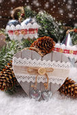 Christmas decoration with wooden heart — Stock Photo