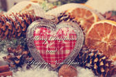 Christmas decoration with vintage heart — Stock Photo