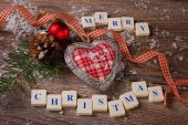 Merry christmas greeting card on wooden background — Foto de Stock
