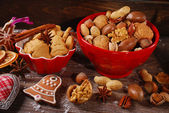 Christmas cookies and nuts assortment  — Stock Photo