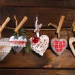Christmas hearts collection hanging on twine — Stock Photo #59585669
