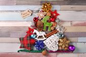 Christmas tree made of various decorations — Stock Photo