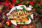 Roasted carp stuffed with vegetables for christmas — Stock Photo