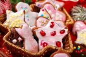 Christmas gingerbread cookies made by kids — Stock Photo