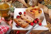 Goose pate with cranberries for christmas — Stock Photo