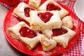 Puff pastry cookies for valentine party — Stock Photo